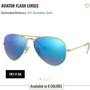 RAY- BAN AVIATOR BLUE FLASH LENS GOLD FRAME